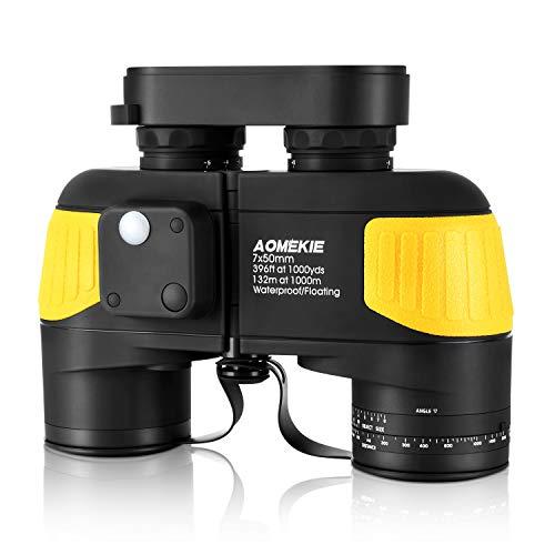 AOMEKIE Marine Binoculars for Adults 7x50 with Low Light Night Vision Compass rangefinder Binoculars Waterproof Fog Proof BAK4 Prism for Navigation Boating Birdwatching Hunting