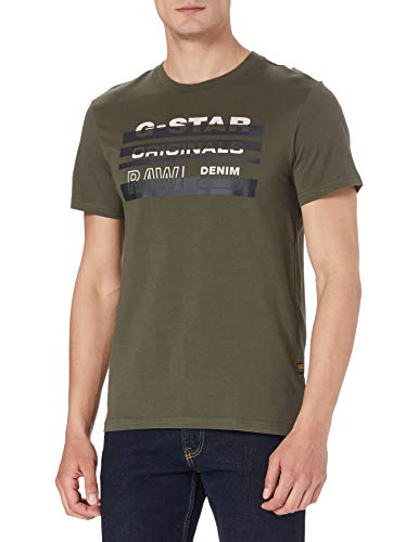 G-STAR RAW Originals Stripe Logo Camiseta, Combat 336-723, XS para Hombre