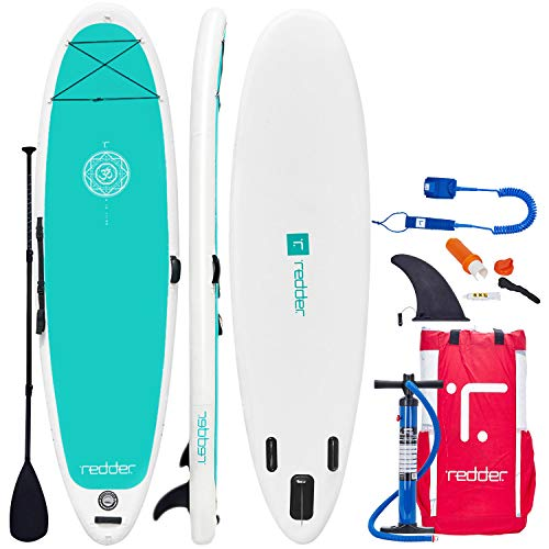 "redder Inflatable Stand Up Paddle Board Zen 10'8"" Yoga/All Round ISUP with Double Action Hand Pump, 3 Piece Fiberglass Paddle, 10' Leash, Backpack, Repair Kit, Non-Slip Deck, Carrying Shoulder Strap"