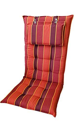Sun Garden Hochlehnerauflage Monte 120x50x8 cm (rot gestreift)