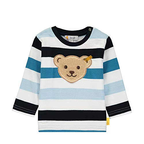Steiff Baby-Jungen mit Streifen und Teddybärmotiv Sweatshirt, Blau (Black Iris 3032), 80 (Herstellergröße: 080)