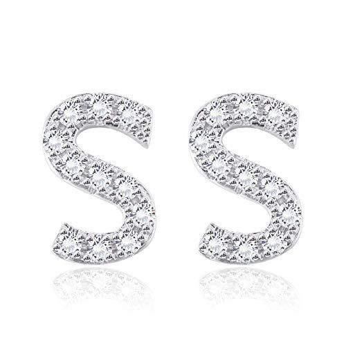 Hopeu5 Donne Ragazze Regali di compleanno Orecchini in oro bianco con zirconi cubici placcati in piccole dimensioni (Letter S)