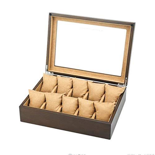 LJW RELOCK Organizer 10 Slots Watch Box Jewelry Mostrar Estuche de Madera Reloj Organizador con Pantalla de Vidrio para Hombres Cajas de colección de Mujeres   Código de Productos: LJW-291