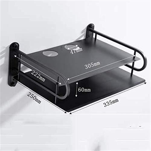 LLFFDC Venta al por Mayor Black Wireless WiFi Router Storage Organizer Container Boxes, TV Set Top Boxes Soporte de Montaje en Pared Soporte de Estante (Color: Big Black Bracket)