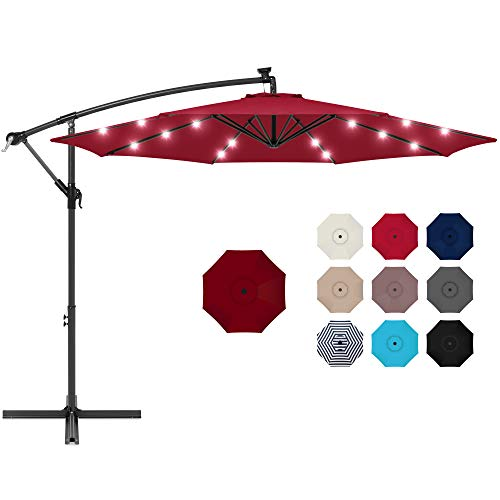 Best Choice Products 10ft Solar LED Offset Hanging Market Patio Umbrella for Backyard, Poolside, Lawn and Garden w/Easy Tilt Adjustment, Polyester Shade, 8 Ribs - Burgundy