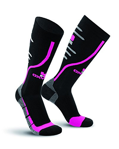 Oxyburn Running Track Knee High Performance Compression Chaussettes Homme, Motif Coucher de Soleil Noir, Size 2