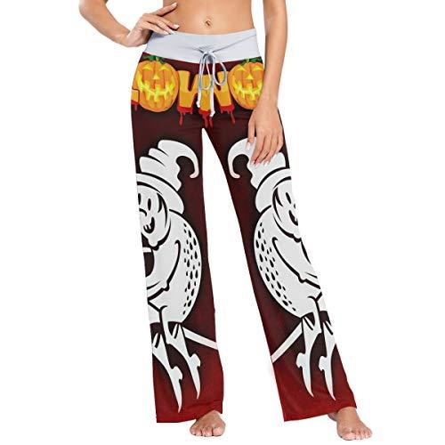 Pantalones de Pijama de Pierna Ancha elásticos para Mujer Pantalones de salón cómodos XL Halloween Bad Witch