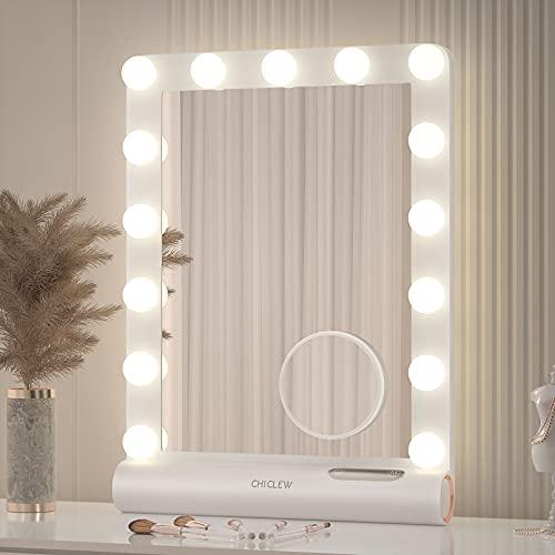 CHICLEW Miroir Hollywood Grande Taille (54.6 * 38.1cm, Miroir Maquillage Lumineux avec 3 Couleurs D'éclairage 15 Ampoules LED, Mirror Grossissant 10x Détachable