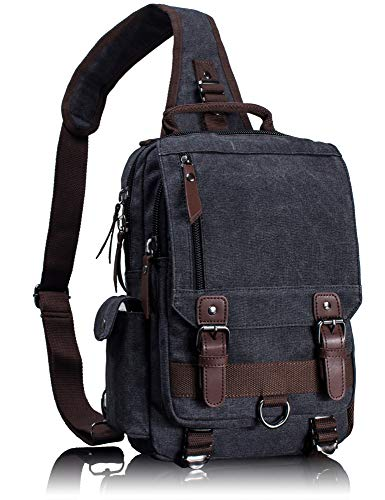 Leaper Canvas Messenger Bag Sling Bag Cross Body Bag Shoulder Bag Black, L