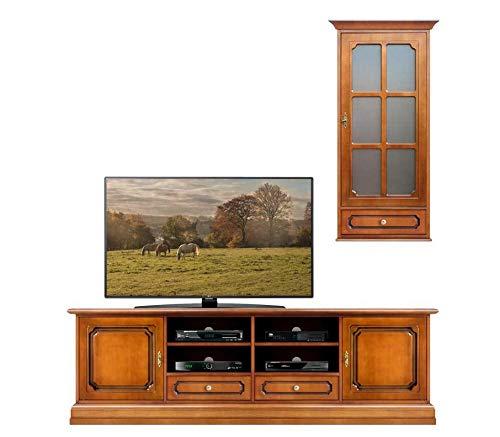 Arteferretto TV-Möbel mit Aufsatz Vitrine, Lowboard 200 cm mit Vitrine - Wohnwand klassisch Wohnzimmer, Holz Farbe Kirschholz, Einrichtung im Stil, Zwei Möbel MONTIERT