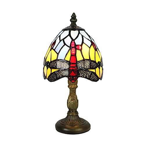 Tokira Tiffany Lámparas de Mesa Rojo Libélula 6 Pulgadas, Mini Lámparas de Mesa de Vitrales para Salón,Luces de Noche para Sala de Estar/Dormitorio/Estudio de Niños, Incluye Bombilla LED