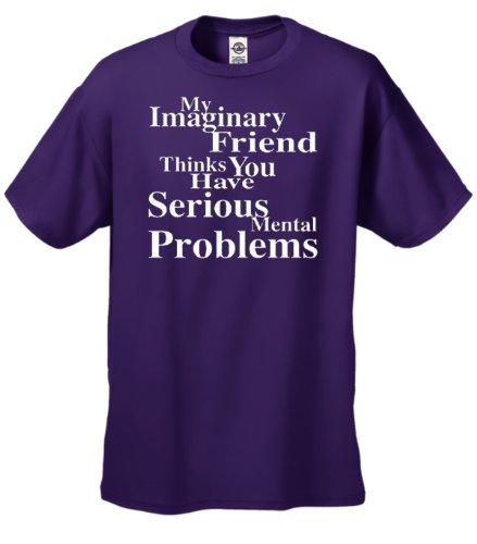 Youth Imaginary Friend Thinks Serious Mental Problems T-Shirt White Print-Purple-YXL