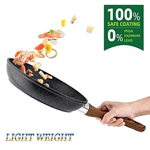 RAINBEAN Sartén de Huevo Antiadherente de 18 cm/ 7 pulgada, Wok de Inducción Para Hamburguesas de Hot Dog Con tocino y Crepe, Woks de Aluminio Forjado Con Revestimiento Antiadherente