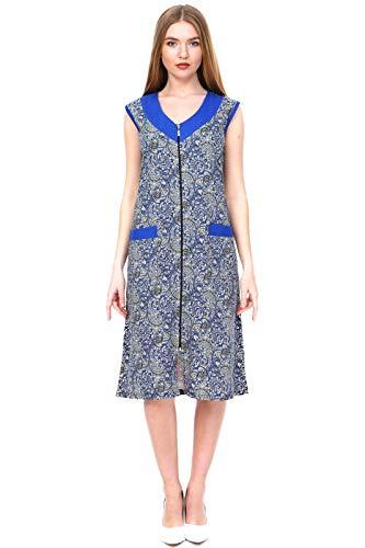 Brighton Robes Womens 100% Turkish Cotton Zipper Front Sleeveless Summer Dress Robe House Dress (XLarge, Paisley)