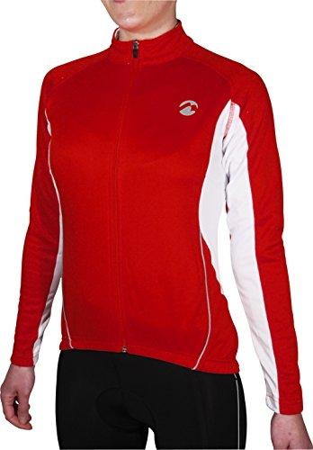 Piu Miglia Full Zip Thermal Langarmshirt Damen Rot Radtrikot PM2216