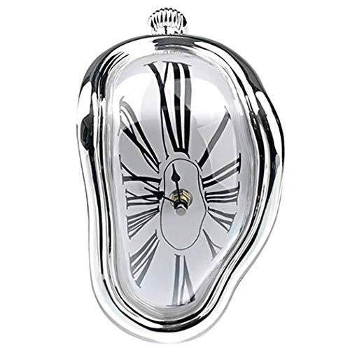 SXSHYUJE Schmelzende Uhr Im Dali-Stil Schmelzende Kaminuhr Mit Silberfarbenem Rahmen, Dekorative Dali Schmelzende Uhr Surrealismus Uhren Salvador Dali, Silvery