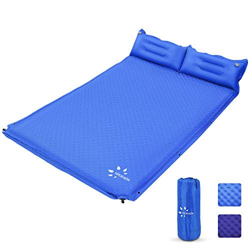 YOUKADA Sleeping-Pad Foam Self-Inflating Camping-Mat for Backpacking Sleeping Pad Double Sleeping Mat Camping Pad 2 Person Camping Mattress with Pillow for Hiking Camping Gear(Blue, Large)
