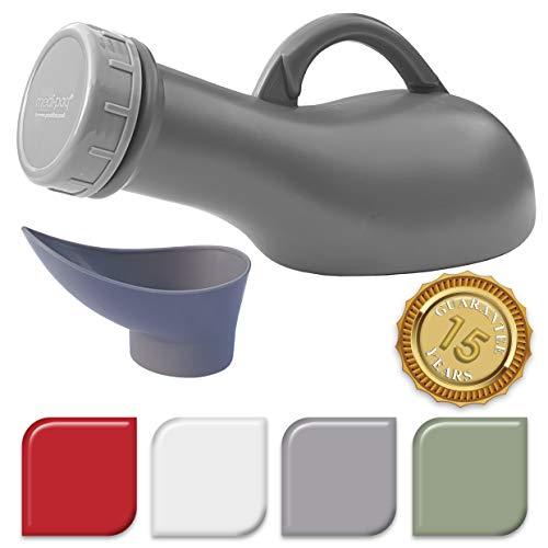 Medipaq® Leakproof Unisex Portable Urinal - Ideal for Car Travel Camping Caravan Festivals Children Elderly (1x Urinal - Silver Grey) - New for 2019 Model