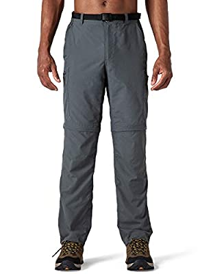 Naviskin Men's Quick Dry UPF 50+ Convertible Pants Lightweight Hiking Outdoor Cargo Pants Relaxed Fit Grey Size L