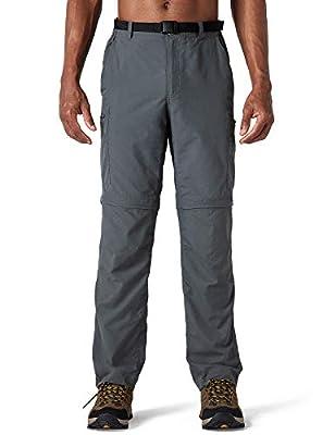 Naviskin Men's Quick Dry UPF 50+ Convertible Pants Lightweight Hiking Outdoor Cargo Pants Relaxed Fit Grey Size XL
