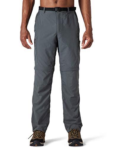 NAVISKIN Herren Zip-Off-Trekkinghose 2-in-1 Wanderhose atmungsaktiv Outdoorhose RV-Taschen UV-Schutz UPF 50+ Grau Größe L