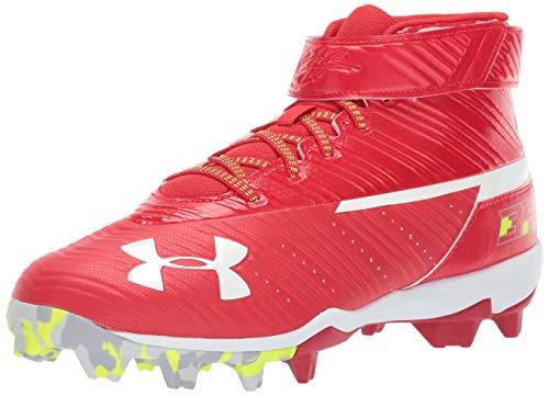 Under Armour Men's Harper Mid RM Baseball Shoe, Red (600)/White, 13 M US