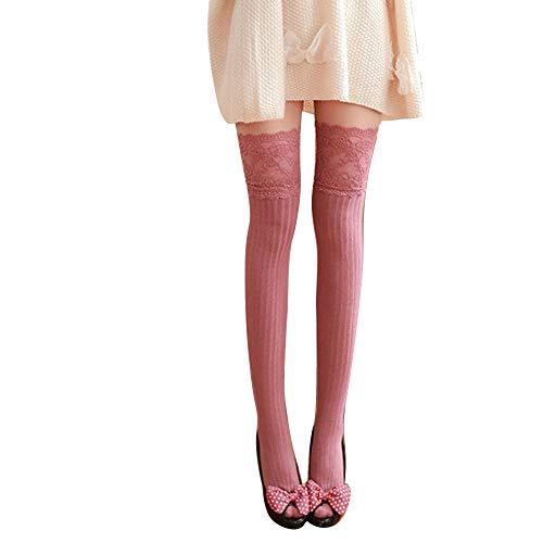 YunYoud Baumwollsocken Damen, Mädchen Winter Über Kniestrümpfe Weich Baumwolle Spitze Lange Socken Frau Mode Strümpfe Beiläufig Kuschelsocken (62cm, Rosa)