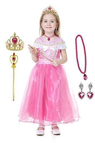 TIMSOPHIA Vestido de Princesa para niña Vestido de Fiesta Ceremonia Princesa Infantil Niña Disfraz Traje de Princesa Aurora Disfrace Vestido de Aurora Carnival Halloween Navidad Cumpleaños