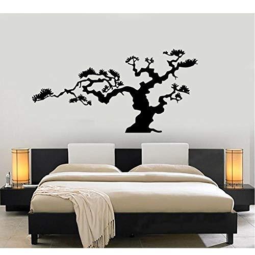 MRQXDP Bonsai japonés árbol naturaleza decoración etiqueta de la pared vinilo calcomanía árboles decoración del hogar sala de estar dormitorio decorar papel tapiz planta 84x42 cm murales wallpaper