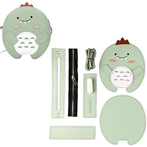 Yocondorla DIY Sewing Kit Leather Handbag Purse with All Accessories Handbag DIY Carft Shoulder Bags Accessories Kits for Kids and Adults (Dinosaur)(Green)