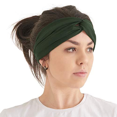Turban Haarband Boho Style Damen - Sommer Stirnband Aus Damen Schweissband und Haareifen Headwrap Khaki