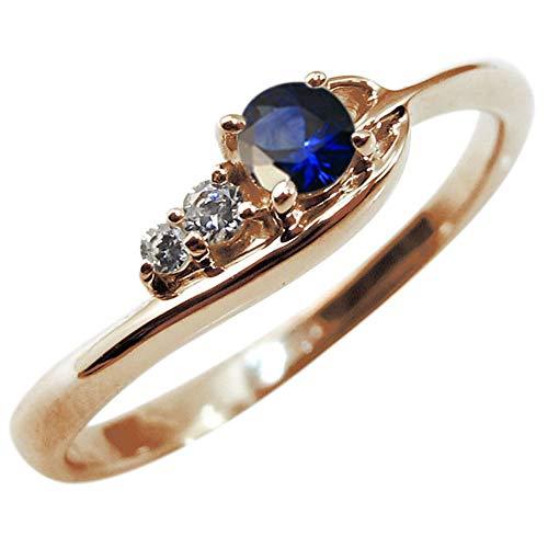 [プレジュール]サファイヤリング 指輪 レディース シンプル K18ピンクゴールド リング リングサイズ14号