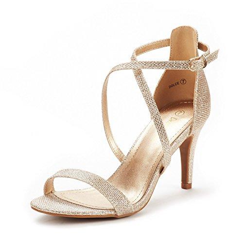 DREAM PAIRS Women's Dolce Gold Glitter Fashion Stilettos Open Toe Pump Heel Sandals Size 7 B(M) US