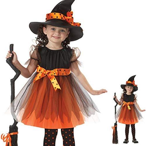 upxiang - Disfraz de Halloween para niños con gorro de princesa, falda de tul, manga larga, impresión de Halloween, fiesta temática, cosplay, vestido de fiesta para 2 – 15 años, 01-amarillo, 4 años
