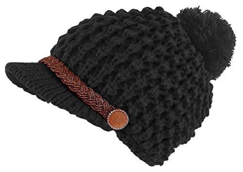 dy_mode Strickmütze Damen Schirmmütze mit Bommel und Innenfutter - A303 (A303-Schwarz)