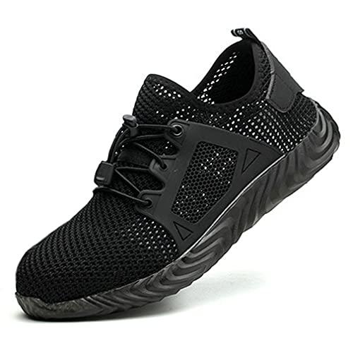 Zapatos de Seguridad HombreZapatillas de Trabajo con Punta de Acero Ligeros Calzado de Industrial y Deportivos Transpirables Anti-Piercing Zapatos de Trabajo