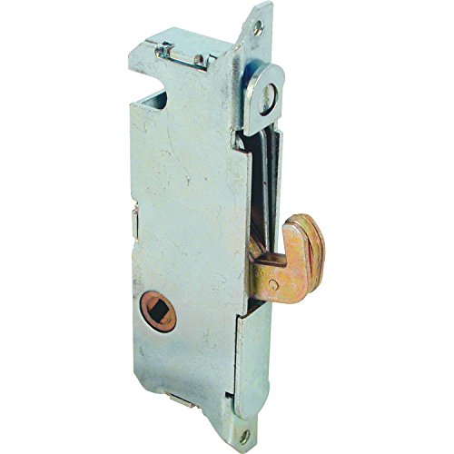 "Prime-Line E 2014 Mortise Lock - Adjustable, Spring-Loaded Hook Latch Projection for Sliding Patio Doors Constructed of Wood, Aluminum and Vinyl, 3-11/16"", 45 Degree Keyway, Round Face"