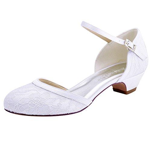 ElegantPark HC1620 Zapatos para Novia Boda Tacon Bajo Ronda Hebilla Bombea los Zapatos de Danza de Encaje Zapatos de Boda Mujer Blanco EU 39
