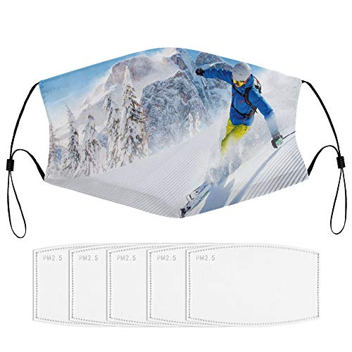 Roupaze Child Face Mask Winter Skier Skiing Downhill in High Mountains Extreme Winter Sports Hobbies Activity Windproof Face Mouth Cover Balaclavas for Kids with 5 Filter