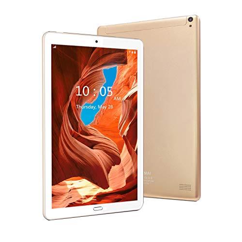 Tablet 10 Pulgadas 4G Android 9.0 Tableta 4GB RAM 64GB ROM,GPS/WiFi/Bluetooth/Soporte (Oro)