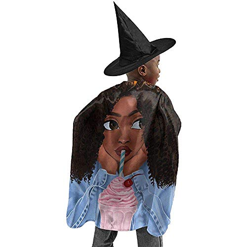 KDU Mode Heks Kostuums, Art Afro Afro Afro-Amerikaanse Meisje Drink Sap Halloween Heks Cosplay Kostuums gewaad Cape Mantel Met Wizard Hoed Voor Verjaardag Party Festival Zwart 100X120Cm