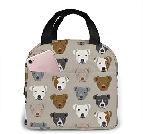 Bolsas de almuerzo para mujeres, niñas, hombres, adolescentes, niños, Pitbull Heads Lunch Tote Box para trabajo, escuela, viajes y picnic