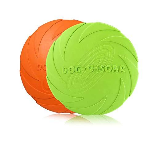 HENJI Frisbee Giocattolo,2 Pezzo Frisbee per Cani,Frisbee di Gomma,Addestramento Facile da Trasportare Disc Dog, per Cani Giochi Outdoor Dog Formazione Fetch Toy (S-15CM)