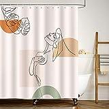 Bonhause Duschvorhang 180 x 180 cm Abstrakte Frau Moderne Kunst Duschvorhänge Anti-Schimmel Wasserdicht Polyester Stoff Waschbar Bad Vorhang für Badzimmer mit 12 Duschvorhangringen