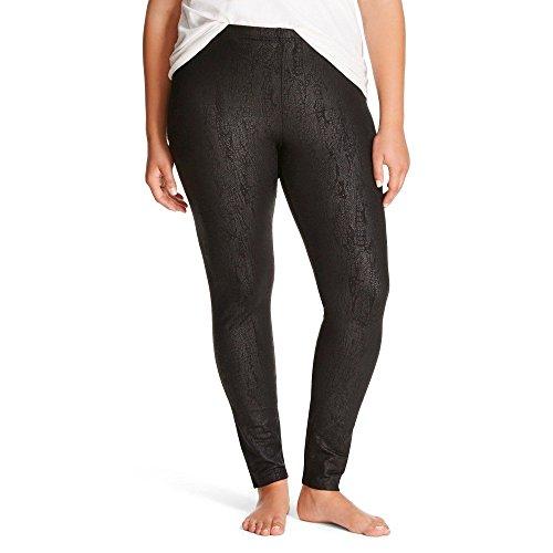 Women's Juniors' Hosiery Leggings 2X Opaque Mid Rise (Crackle Black, XXL)