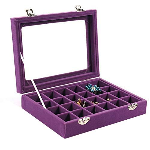 VANCORE Velvet Glass Jewelry Ring Display Organizer Box Tray Holder Earrings Storage Case for Women