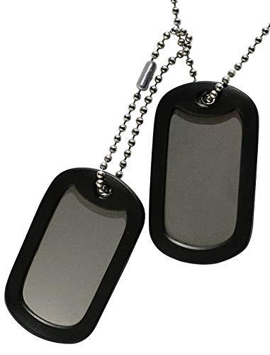 TusPlacas.es Chapas Militares: Juego de 2 Chapas de Acero INOX. y Cadenas de Acero Inoxidable (Fabricado en USA) + Gomas Silenciadores Negros - Collar de identificación Tipo Ejército Americano USA