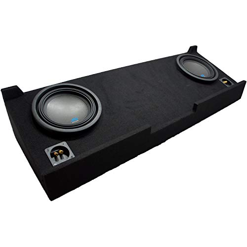 """Compatible with 2007 2008 2009 2010 2011 2012 2013 Chevy Silverado Crew Cab Truck Alpine S-W10D2 Type S Car Audio Subwoofers Custom Dual 10"""" Sub Box Enclosure Package"""