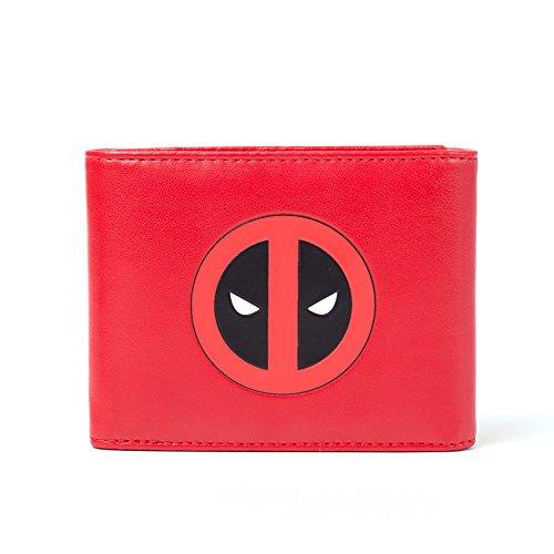 Licenciado monedero con cierre de botón de Marvel Deadpool con el logotipo y las letras Billetes de 1 compartimento, 2 tarjeteros, 1 Fotos, pequeño cambio con cierre de botón Dimensiones 12 x 9 x 2,5 cm color rojo, negro