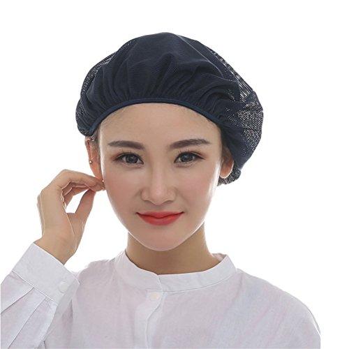 Nanxson(TM) 5x Unisex Mob Caps Mesh Industrial Workshop Protective Working Elastic Kitchen Hats Hair Net CF9023 (Navy Blue)